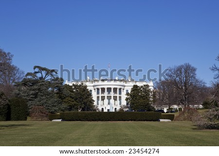 White House in Washington DC under clear blue sky
