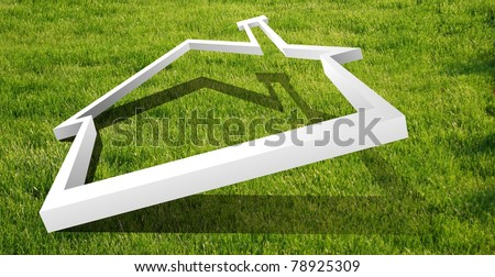 White house outline in the grass for real estate, financial or family themes