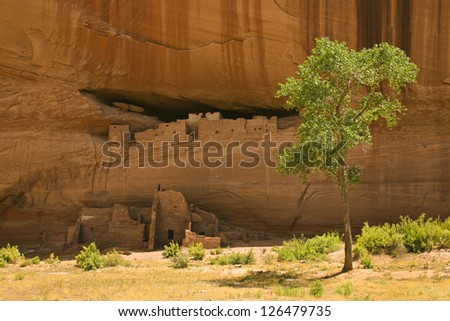 White House ruins, Canyon de Chelly National Monument, which are ruins of dwellings built by the AncientPueblo People, or Anasazi