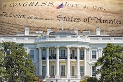 white house washington building on American Declaration of independence 4th july 1776 background
