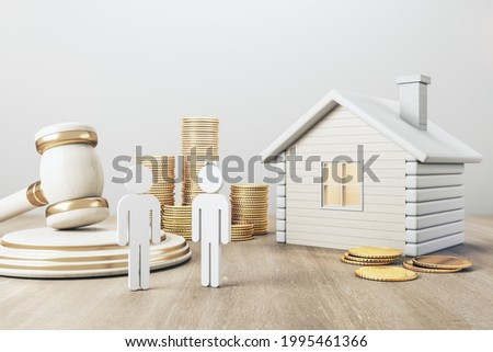 White house with golden coin stacks, male, female and gavel on concrete and wooden background. Divorce and property division concept. 3D Rendering Stockfoto ©