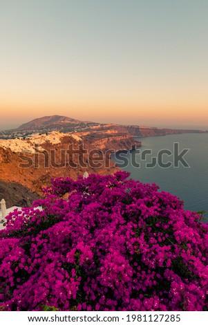 White houses of Imerovigli on the top of Santorini caldera seen during sunset, Greece Zdjęcia stock ©