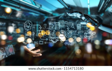White humanoid on blurred background creating artificial intelligence interface #1154713180