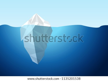White Iceberg on Blue Atlantic Background Vector. illustration design graphic