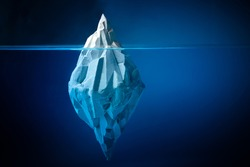 White iceberg on deep blue background. Environment concept. Winter concept. Ocean underwater background.