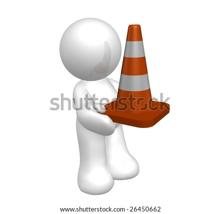 White icon guy with under construction cone