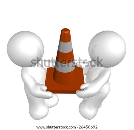 White icon guys with under construction cone - stock photo