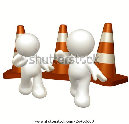 White icon guys with under construction cones