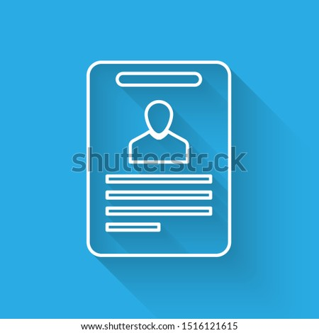 White Identification badge icon isolated with long shadow. It can be used for presentation, identity of the company, advertising