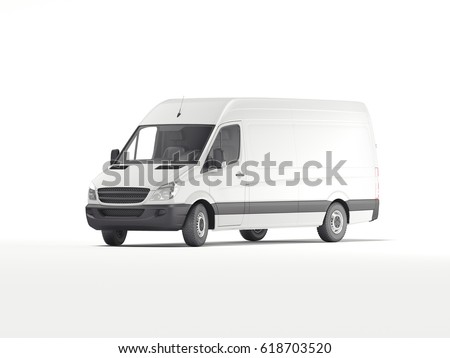 White industrial van. Template for branding and corporate identity on transport. 3d rendering