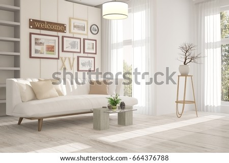 White inspiration of minimalist room with sofa. Scandinavian ...