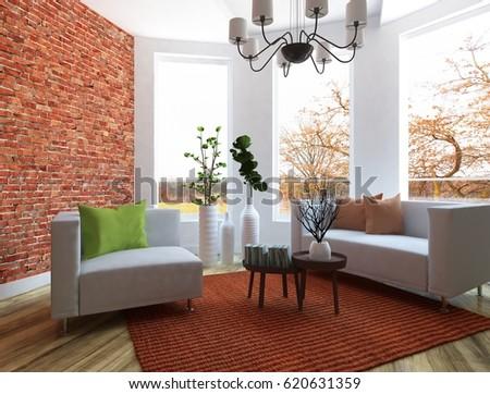white interior design of a room with furniture. Scandinavian interior design. 3d illustration #620631359
