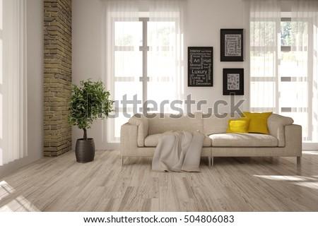 White interior design of living room. Scandinavian style. 3D illustration
