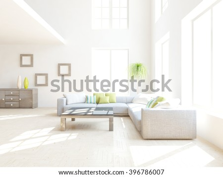 White interior design of living room with colored furniture - 3d illustration
