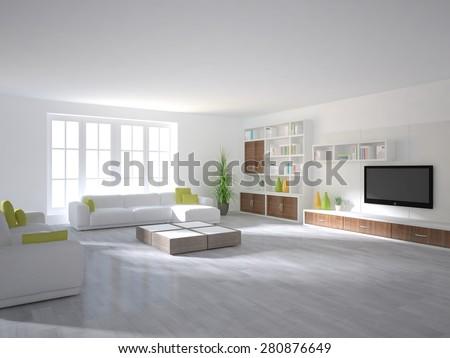 white interior design of modern house -3d rendering