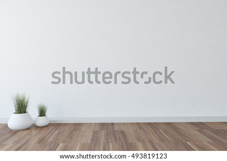 White interior design with flowers on a floor. 3D illustration