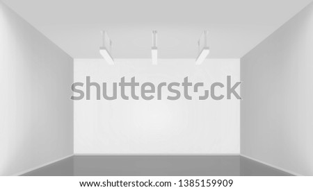 white interior of empty room with sealing lamps, 3d redering backround