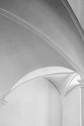 White interior trim a vertical arch