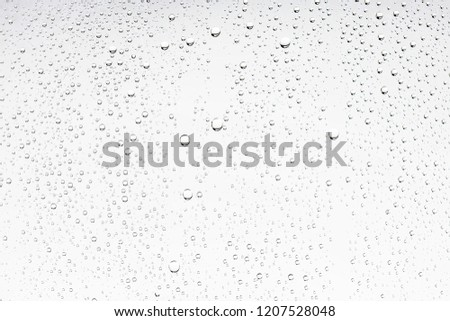 white isolated background water drops on the glass / wet window glass with splashes and drops of water and lime, texture autumn background stock photo