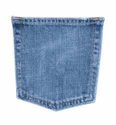 White isolated background with copy space of blue jeans back side pocket in macro idea. Clothes concept to present denim texture in close up view and classic style fashion with vintage tones.