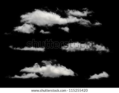 white isolated clouds. cutout...