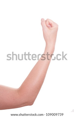 White isolated female arm with fist