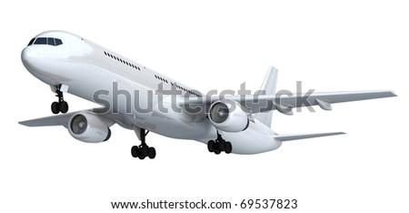White isolated passenger liner - stock photo
