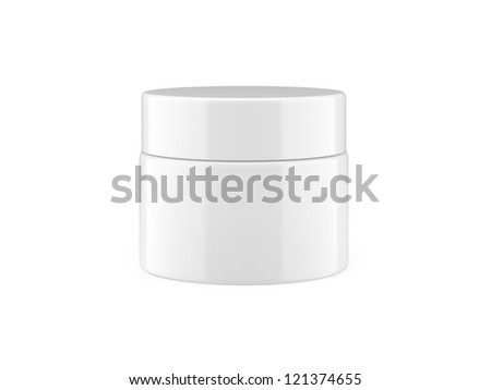 White jar with cap isolated in white