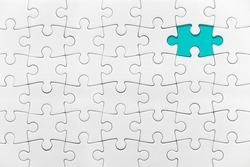 White jigsaw puzzle pattern missing piece White jigsaw puzzle pattern isolated front image top view to express alliance union team working solution success problem