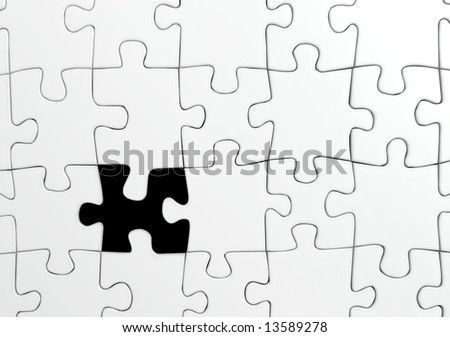 White jigsaw puzzle with a single missing piece - 3d render