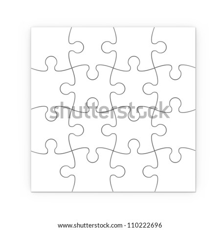 white jigsaw puzzle with clipping path