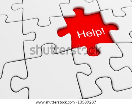 "White jigsaw puzzle with ""Help"" text on missing place - 3d render"