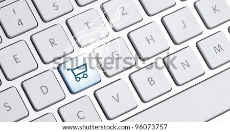 white keyboard with an buy option