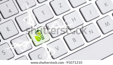 white keyboard with an eco option