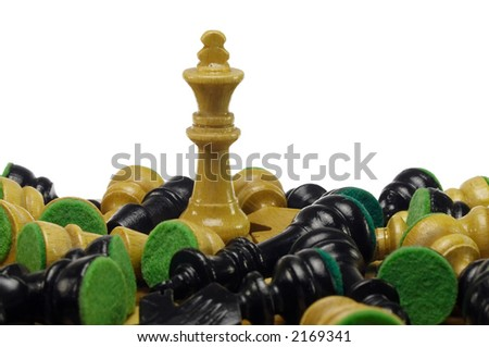 white king standing among black and white pieces lying on board