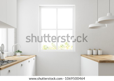 White kitchen corner with a wooden floor, large windows and white countertops and cupboards. A side view 3d rendering mock up