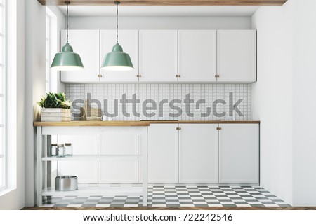White kitchen interior with a tiled wall and floor, countertops and a small table with jars. 3d rendering mock up