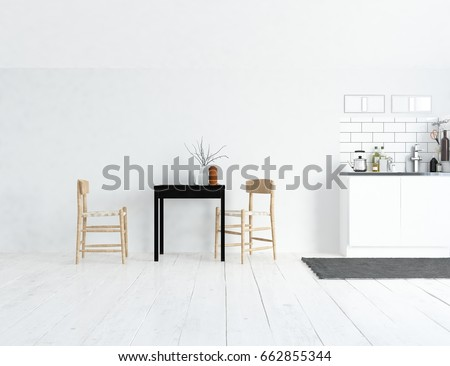 white kitchen room interior. Scandinavian interior design. 3d illustration