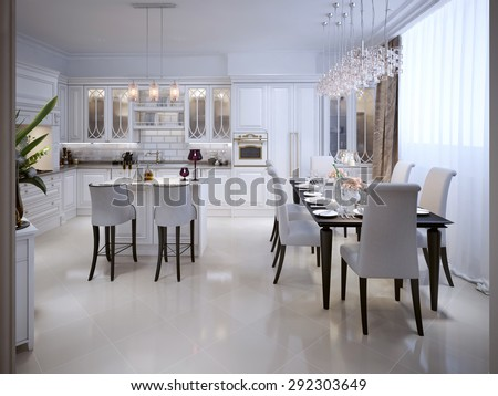 White kitchen with dining table in the Arab style 3D render