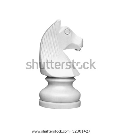 white knight chess figure (+clipping path, high resolution)