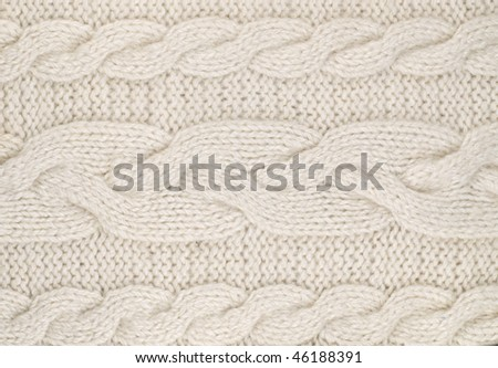 White  knitted with a pattern textured background