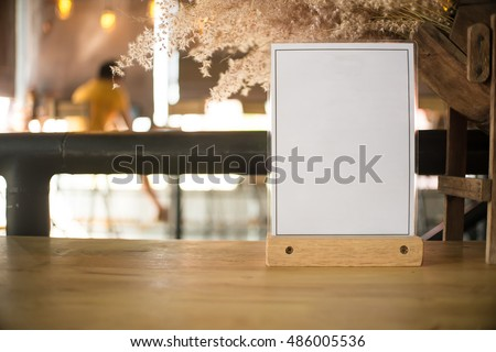 White label on the table. Used for menus or put everything into it . mockup