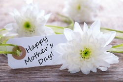 White Label with Happy Mothers Day and White Blossoms