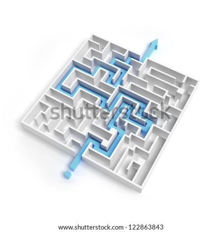 White labyrinth isolated on a white background - stock photo
