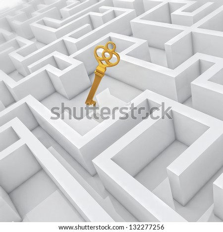 White labyrinth, problem solved, golden key in center of abstract maze - stock photo