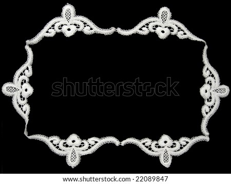 white lace frame on black