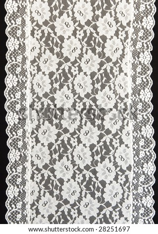 white lace with a black background