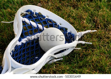 White lacrosse head with blue netting with grey ball