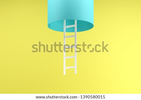 White ladder hanging inside blue tube isolated on yellow background. Minimal conceptual idea concept.3D Render.