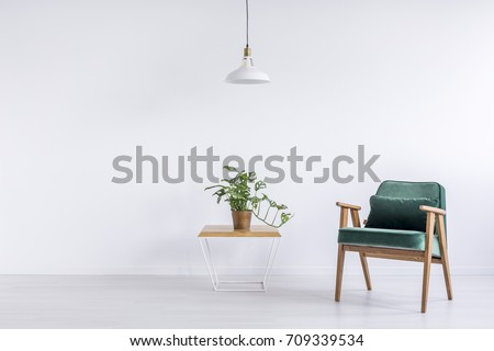 White lamp above table with plant in copper bucket and green vintage armchair with pillow in empty living room #709339534
